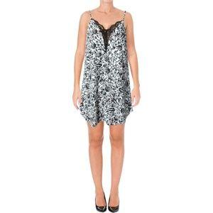 Aqua B/W Chiffon Lace Inset Printed Slip Dress
